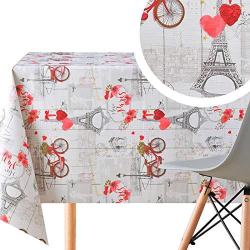 Manteles Hule Romántico Paris Gris y Rojo de PVC Fácil de Limpiar - 200 x 140 cm - Mantel Rectangular de Vinilo Plástico Fácilmente Limpiable con Diseño de Paris