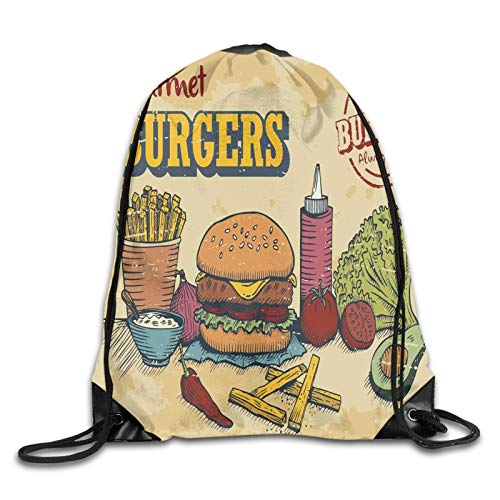 Fuliya Print Drawstring Backpack,Retro Hand Drawn Style Burger And Ingredients Gourmet Taste Delicious Fast Food,Beach Bag for Gym Shopping Sport Yoga