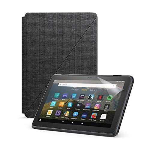 Fire HD 8-Tablet (32 GB, Schwarz, Mit Werbung) + Amazon-Hülle mit Standfunktion (Schwarz) + NuPro-Bildschirmschutzfolie (2er-Pack)