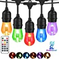 BRTLX Outdoor Color Changing LED String Light, 100Ft RGBW Dimmable Waterproof Commercial Grade Hanging Patio String Lights with 32 Shatterproof Bulbs(2 Spare Bulbs) for Backyard Garden Party,UL Listed