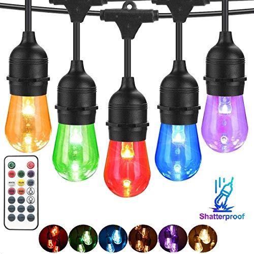 BRTLX Bunt LED S14 Lichterkette Glühbirne Aussen, IP65 Wasserdicht,15M RGBW Lichterkette Garten mit 16 LED Bruchsichere Birnen E27 und Fernbedienung für Hochzeit Party Weihnachten Café(1 Ersatzlampen)