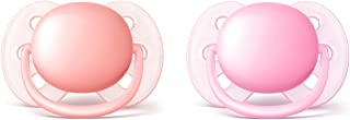 Philips Avent Ultra Soft Pacifier, 0-6 Months, Pink/Peach, 2 pack, SCF213/20