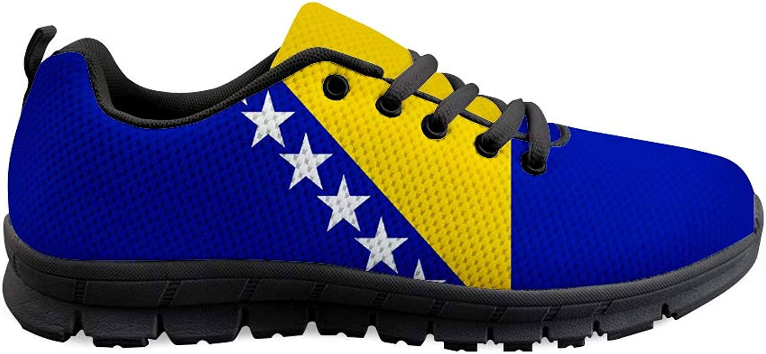 Owaheson Lace-up Sneaker Training shoes Mens Womens Bosnia and Herzegovina Flag