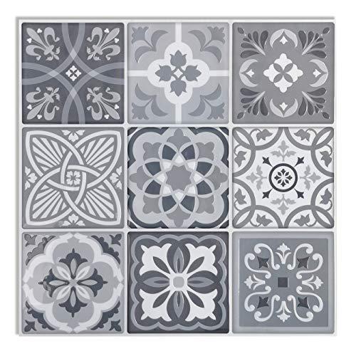 Art3d 5-Pack 3D Peel and Stick Backsplash Tile, 12x12 Vinyl Gray Talavera Mexican Tiles (Thicker Version)