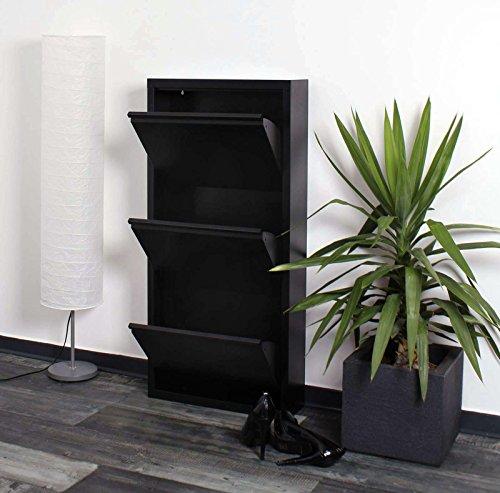 lifestyle4living Schuhkipper schwarz aus Metall hat 3 synchron öffnende Klappen, schmaler Schuhschrank ist 15 cm tief und bietet Platz für bis zu 9 Schuhe