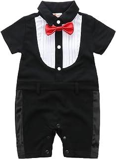 ARAUS Pagliaccatti da Neonato Bambini Tutine Completini a Manica Corta Smoking Baptism Formale Suit Estiva 3-18 Mesi