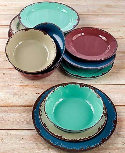 Rustic Melamine Dinnerware Set - Plastic Farmhouse Plates and Bowls - 12 Pc.