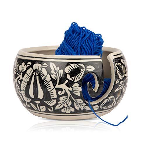 Mooie grote keramische garen breien haak kom houder voor garen ballen decoratieve opslag organisator veelkleurige bloemen hand geschilderd haken Naaldwerk breien accessoires benodigdheden stevig niet slip