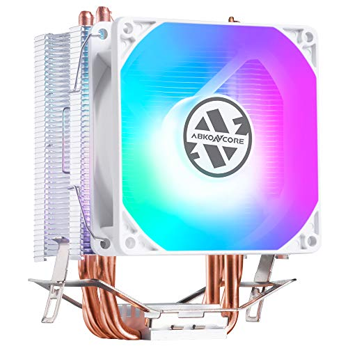 ABKONCORE LED CPU Cooler White CT407W with 92mm PWM Silent Fan, 4 Continuous Direct Contact Heatpipes, Rainbow Spectrum LED CPU Fan for LGA1151/1200, AM4/Ryzen