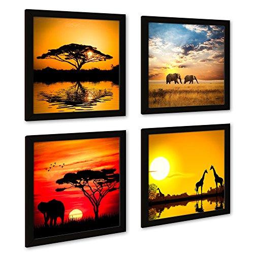 Afrika-Bilder Set A mit schwarzen Bilder-Rahmen. Mehrteiliges Landschafts-Bilder-Set, je 32x32cm klein, Fine Art Druck auf Forex. Stilvolle Wand-Deko für Wohnzimmer Schlafzimmer Fur Küche