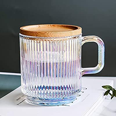 Lysenn Iridescent Glass Coffee Mug with Lid - Premium Classical Vertical Stripes Glass Tea Cup - for |Latte|Tea|Chocolate|Juice|Water| - Unleaded - Bamboo Lid - 12.5 Ounces
