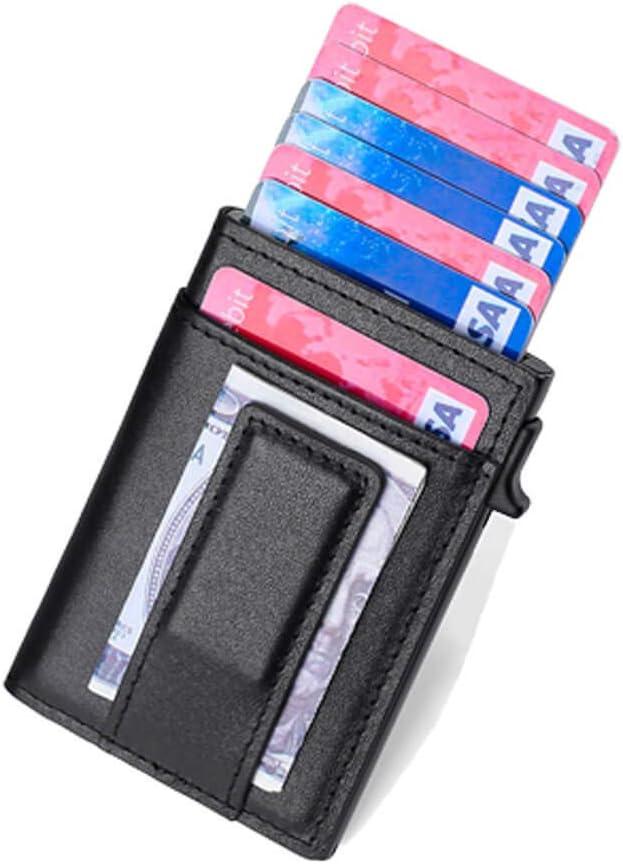 Pop Up Wallet Card Holder – UpLook RFID Slim Wallet Card Case with Magnetic Clip (Nappa Black)