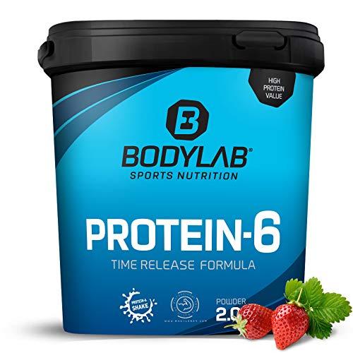 Bodylab24 Protein-6 Erdbeere 2kg / Mehrkomponenten Protein-Pulver, Eiweißpulver aus 6 hochwertigen Eiweiß-Quellen / Protein-Shake für Muskelaufbau
