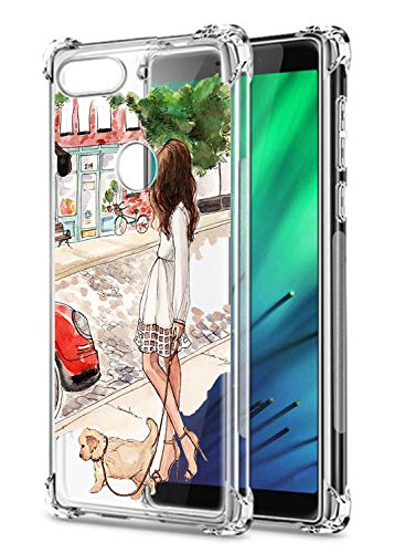 Oihxse Coque pour Xiaomi Mi A2/6X Motif Fille Design transparent Ultra Mince Transparent Antichoc Anti-rayures Silicone TPU Souple Bumper avec Air Cushion Cover A7