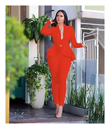 ASVNDD Frauen-Winter-Frauen-Set Anzug Voll Sleeve Raff-Bleistift-Hosen-Anzug Zweiteiler Büro-Dame Outfits Uniform (Color : Orange, Size : X-Small)
