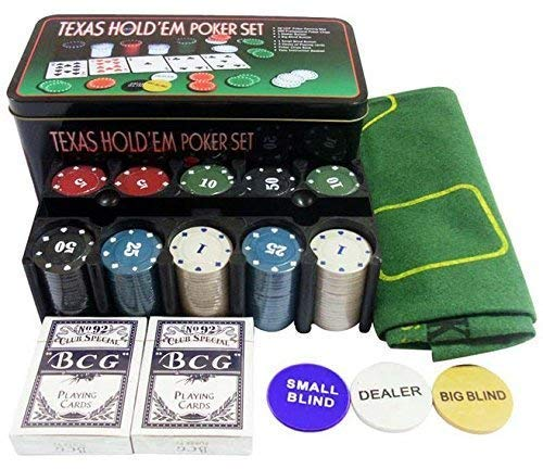Krupakar Casino Poker Game Set with 200 Denominated Poker Chips - Gaming Mat Playing Cards in Tin Box for Adults