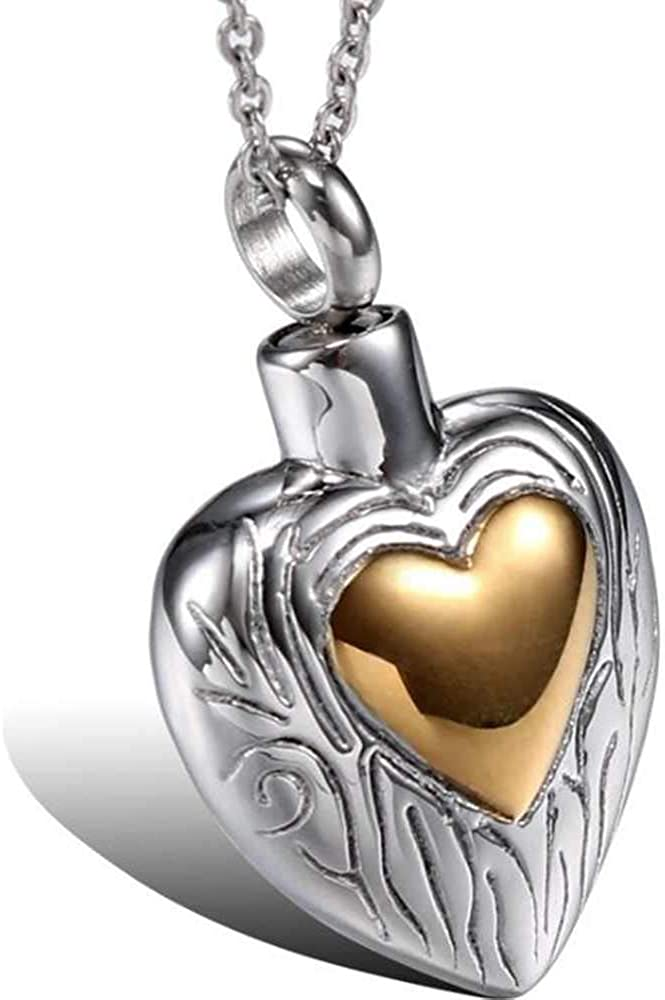 Stainless Steel Heart Shaped Loved One's Ash Urn Keepsake Memorial Funeral Pendant Necklace