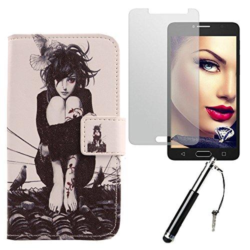 Lankashi Roof Girl 3in1 Set PU Flip Leder Tasche Für Alcatel One Touch Pop 4S 5.5
