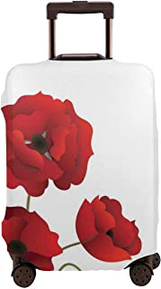 Travel Luggage Cover,Poppy Flowers Vivid Petals With Buds Pastoral Purity Mother Earth Nature Suitcase Protector