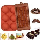 2 moldes de silicona con forma de pizarra para chocolate, Pascua, juego de moldes redondos, forma semiesférica, molde de silicona para dulces, molde de cocina con 6 cavidades