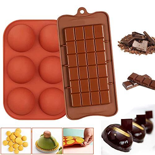 Silikon Schokoladenform Set, Halbkugel-Silikonform mit 6 Hohlräumen Silikon Schokolade Formen Kuchen, Gelee, Dome-Mousse