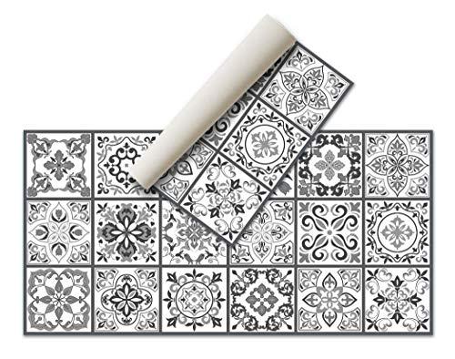 Alfombra Vinílica Hidráulica (80 x 40 cm, Negro-Gris) - Distintos Colores y tamaños - Alfombra Cocina, baño, salón Comedor - Antideslizante - Alfombra Dormitorio - Goma esponjosa y Suelo PVC