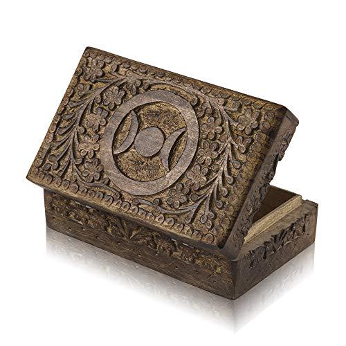 Global Village Bazaar - Joyero decorativo hecho a mano de madera, caja de tesoros para joyas, organizador de joyas, caja de recuerdos, caja de joyería, caja de joyería, caja de 8 x 5 pulgadas