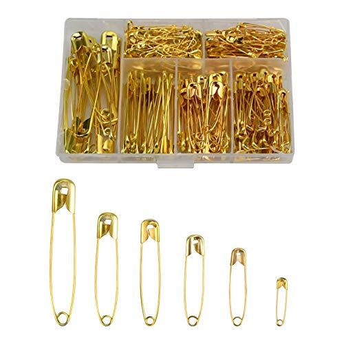 NiceLand Kleine Sicherheitsnadeln Gold 250 Stück Sicherheitsnadeln Rostbeständig für Kunsthandwerk Nähen Schmuckherstellung Größe 55mm 45mm 36mm 32mm 28mm 22mm