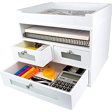 White Desk Organizer - Wooden Construction with Storage Drawers