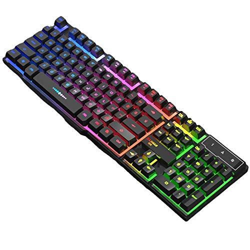 Gaming Tastatur Englisch mit Kabel USB. wasserdicht-ergonomisch, Keyboard Tastatur für PC Xbox one X PS4 Tastatur,LED Hintergrundbeleuchtung für Desktop,Windows 104 Tasten (Black- multicolor Tastatur)