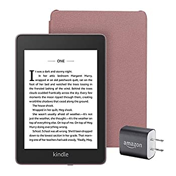 Kindle Paperwhite Essentials Bundle including Kindle Paperwhite - Wifi Ad-Supported Amazon Leather Cover and Power Adapter