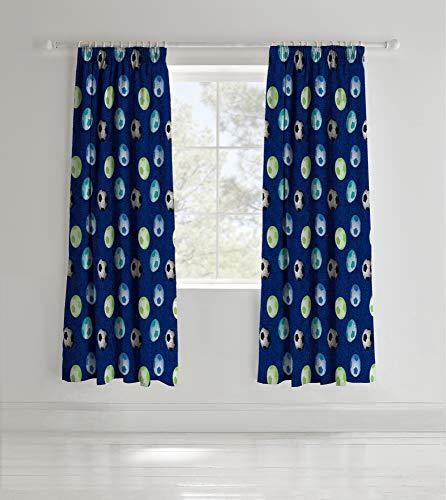 Catherine Lansfield Stoff mit Fußball-Design, für Kinder, blau, Curtains