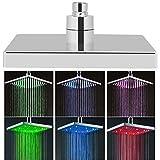 EBTOOLS Cabezal de Ducha LED, 8 Pulgadas, 7 Colores, Acero al Carbono, Cuadrado, Cromado, Cabeza Cuadrada, Cabezal de Ducha Fijo de Alta presión, rociador Superior para baño
