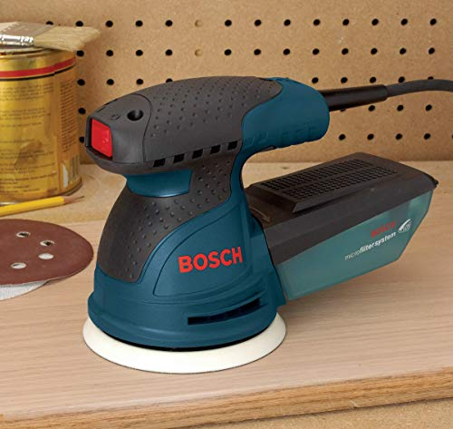 Bosch ROS20VSC Palm Sander - 2.5 Amp 5 in. Corded Variable Speed Random Orbital Sander/Polisher Kit with Dust Collector and Soft Carrying Bag