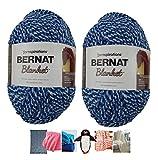Big Ball Blanket Yarn Bundle by Bernat Plus 6 Blanket Yarn Patterns Super Bulky #6 10.5 Ounce Ball 220 Yards (Cloudy Sky Twist)