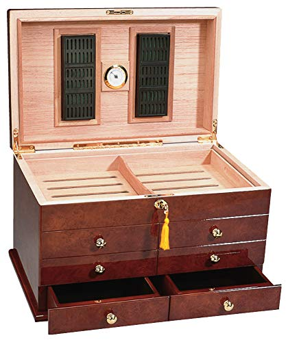Ravello Humidor 2 Large Humidifiers, Front Drawers, Glass Hygrometer, Sure Seal Technology, Holds Up to 300 Cigars