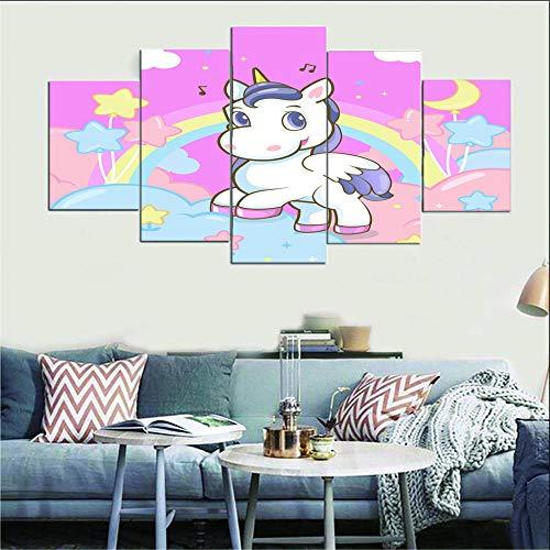 Imprimir Poster Canvas Art 5 Piezas Unicornio de dibujos animados Poster Wall Art Modular Pictures Living Room Home Decor Artwork Gift 150X100CM Cuadro sobre Lienzo - Impresión en Lien