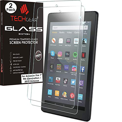 TECHGEAR 2 Pack GLASS Edition fits All New Amazon Fire 7' Tablet (2019 Release / 9th Generation) - Genuine Tempered Glass Screen Protector Cover [2.5D Edge] [9H] [Crystal Clarity] [Scratch-Resistant]