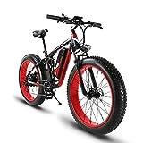 Extrbici Vélo électrique XF800 1000W 48V 13A VTT électrique Support de Charge USB avec Suspension Complète et LCD Intelligent & Gros Pneu 26 x 4.0 (Rouge Noir)