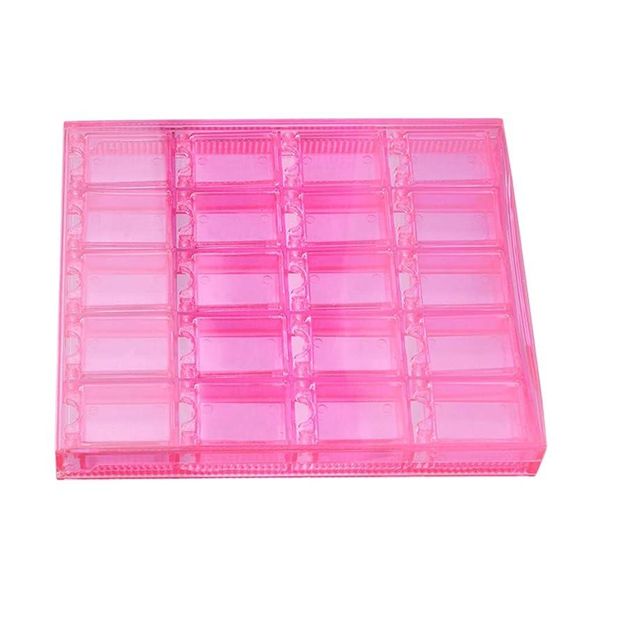 バック意気揚々修理可能20-グリッドプラスチッククラフトオーガナイザーケースネイルジュエリー収納ボックス調整可能収納ボックス用ミシンビーズネイルアートラインストーンダイヤモンド - ピンク