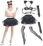 Disfraz de Gato para Halloween, Accesorios Diadema de Orejas Máscara Negra de...