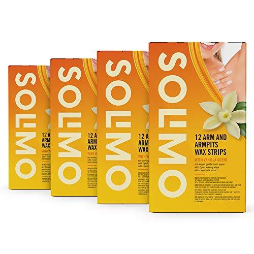 Marca Amazon - Solimo - Bandas de cera brazos y axilas con aroma de vainilla, papel de suave tejido no tejido con 4 toallitas posdepilación (4x12 bandas de cera)