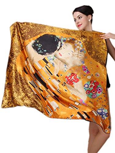 prettystern 100 Cm XL Crepe Satin Handroulier Malerei Golden große Seiden-Tuch - Gustav Klimt - Kuss P335