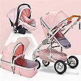 CZLSD Multifuncional 3 en 1 Cochecito de bebé Alto Cochecito de Paisaje Cochecito Plegable Cochecito de bebé Cochecito recién Nacido (Color : Pink 3 in 1)