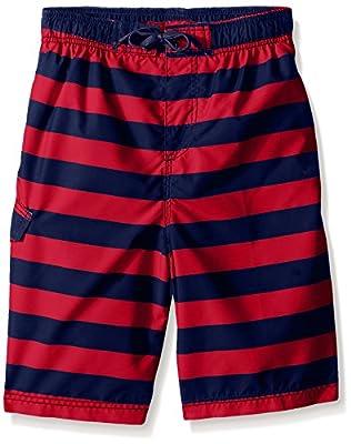 Kanu Surf Boys' Big Specter Quick Dry UPF 50+ Beach Swim Trunk, Troy Navy/Red, 18/20