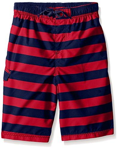 Kanu Surf Boys' Big Specter Quick Dry UPF 50+ Beach Swim Trunk, Troy Navy/Red, 10/12