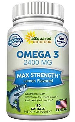 Pure Omega 3 Fish Oil Supplement (180 Softgels Lemon Flavor) 2400mg Max Strength, High Potency EPA & DHA, Natural Omega-3 Fatty Acids, Burpless Liquid Capsule Pills for Brain Joints Eyes Heart Health