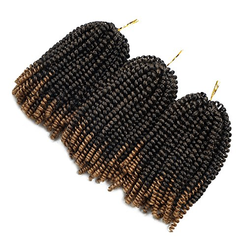 Beyond Beauty Spring Twist Ombre Colors Crochet Braids Synthetic Braiding Hair Extensions Low Temperature Fiber 30 Strands 110g/Pack(T1B27)