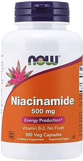 NOW FOODS Niacinamide 500mg Vitamin B-3 Capsules, 100 Count (3 Pack)