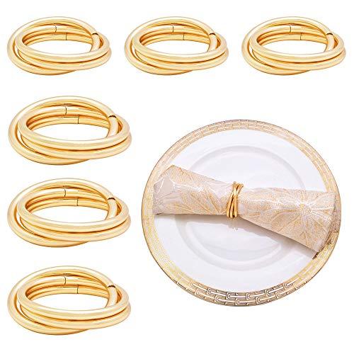 Ototon - Lote de 6 anillos de servilletas redondos de mesa para bodas, banquetes, fiestas, restaurantes